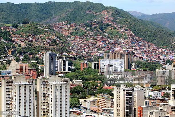 ranchos and moderns buildings, caracas, venezuela - カラカス ストックフォトと画像