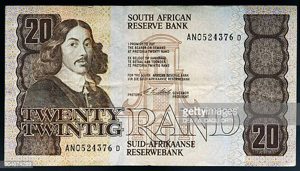 Rand banknote, 1990-1999, obverse depicting Jan Van Riebeeck . South Africa, 20th century.