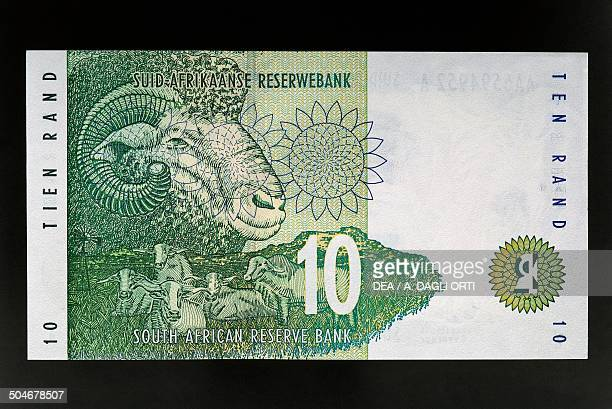 Rand banknote, 1990-1999, reverse depicting a ram. South Africa, 20th century.