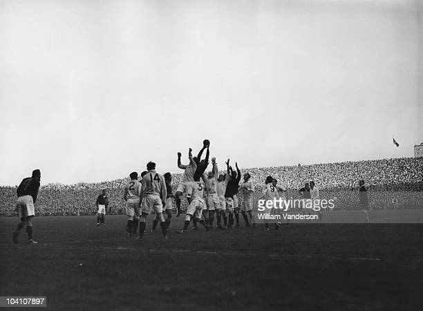 J Rand of South Africa gets the ball from a lineout during his team's match against Scotland at Murrayfield 24th November 1951 South Africa won the...
