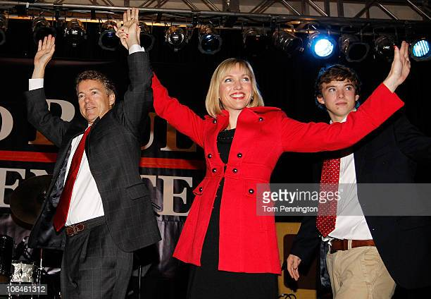 Rand Paul the Republican candidate for the Kentucky US Senate seat wife Kelley and son wave to supporters during an election night party on November...