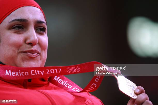 Randa Mahmoud of Egypt celebrates with her medal during the Women's Over 86Kg Group A Category as part of the World Para Powerlifting Championships...
