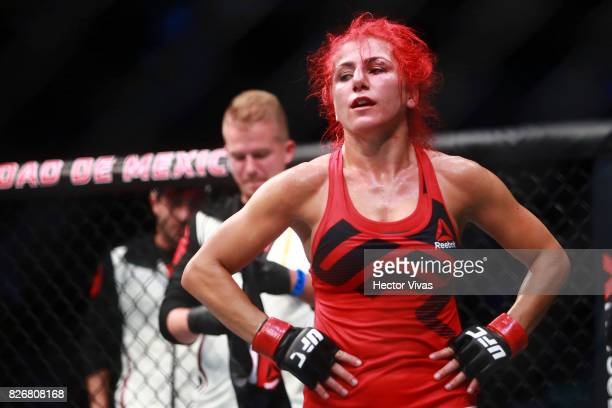 Randa Markos of Canada reacts during the UFC Fight Night Mexico City at Arena Ciudad de Mexico on August 05 2017 in Mexico City Mexico