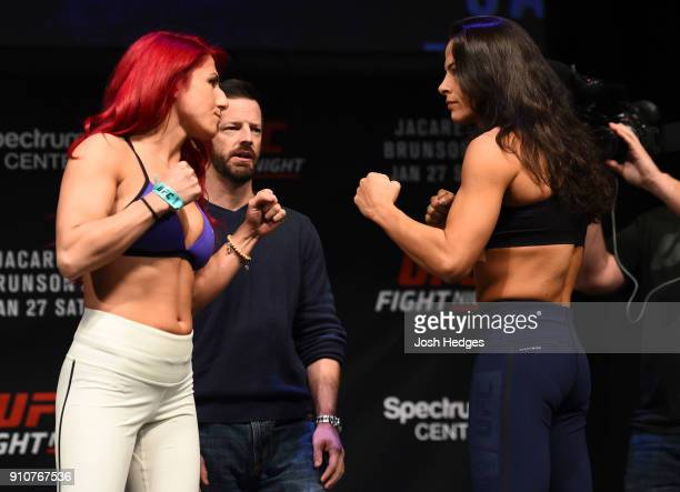 Randa Markos of Iraq and Juliana Lima face off during a UFC Fight Night weighin on January 26 2018 in Charlotte North Carolina