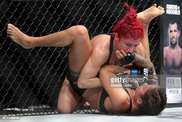 Randa Markos of Iraq and Juliana Lima of Brazil compete during UFC Fight Night at Spectrum Center on January 27 2018 in Charlotte North Carolina