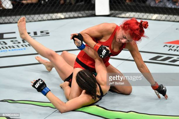 Randa Markos of Iraq elbows Alexa Grasso of Mexico in their women's strawweight bout during the UFC Fight Night event at Arena Ciudad de Mexico on...