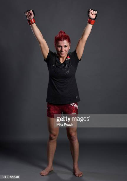 Randa Markos of Iraq poses for a post fight portraits backstage during a UFC Fight Night event at Spectrum Center on January 27 2018 in Charlotte...