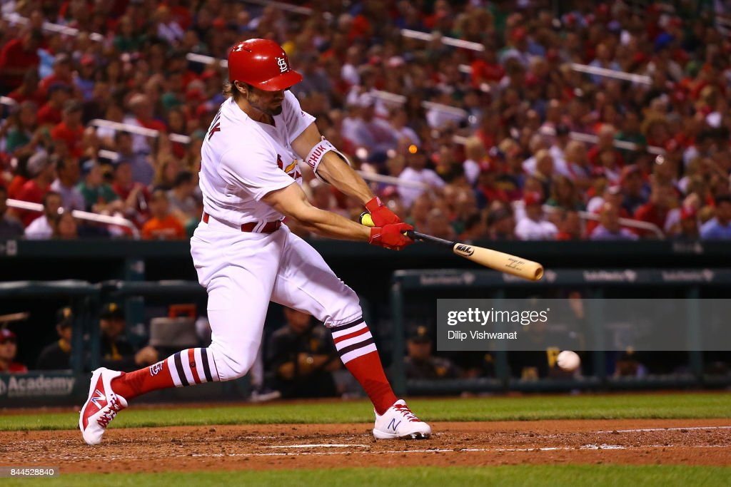Randal Grichuk #15 of the St. Louis Cardinals bats in a run against the Pittsburgh Pirates in the fourth inning at Busch Stadium on September 8, 2017 in St. Louis, Missouri.