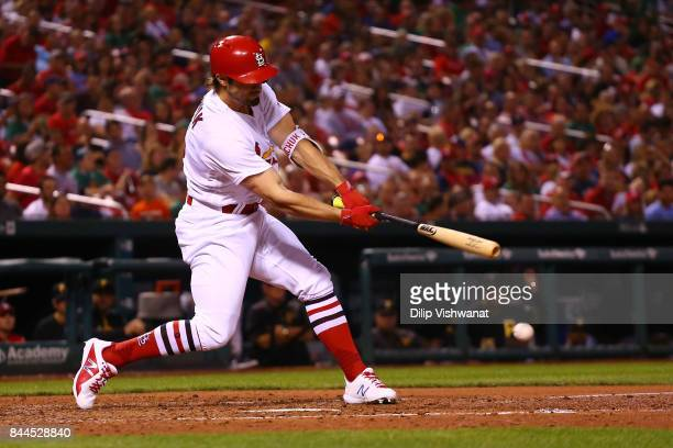 Randal Grichuk of the St Louis Cardinals bats in a run against the Pittsburgh Pirates in the fourth inning at Busch Stadium on September 8 2017 in St...
