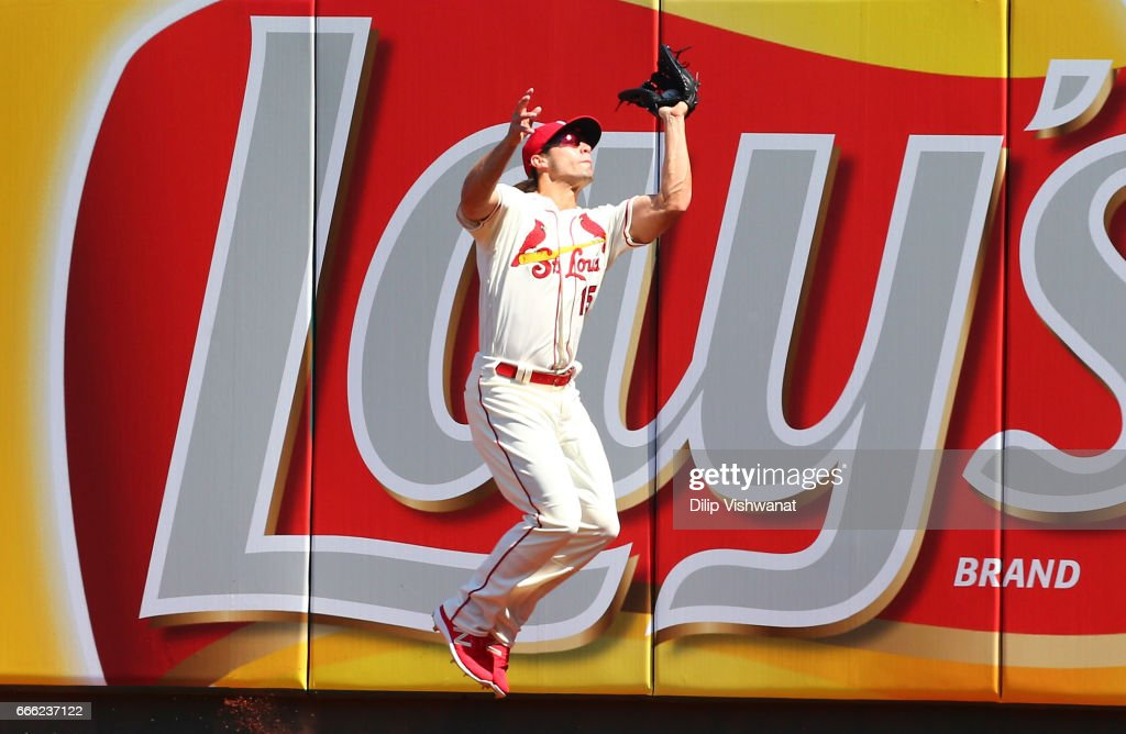 Randal Grichuk #15 of the St. Louis Cardinals catches a fly ball against the Cincinnati Reds in the fourth inning at Busch Stadium on April 8, 2017 in St. Louis, Missouri.