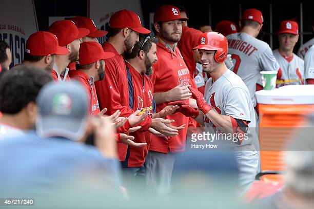 Randal Grichuk of the St Louis Cardinals celebrates after hitting a solo home run in the seventh inning against the San Francisco Giants during Game...