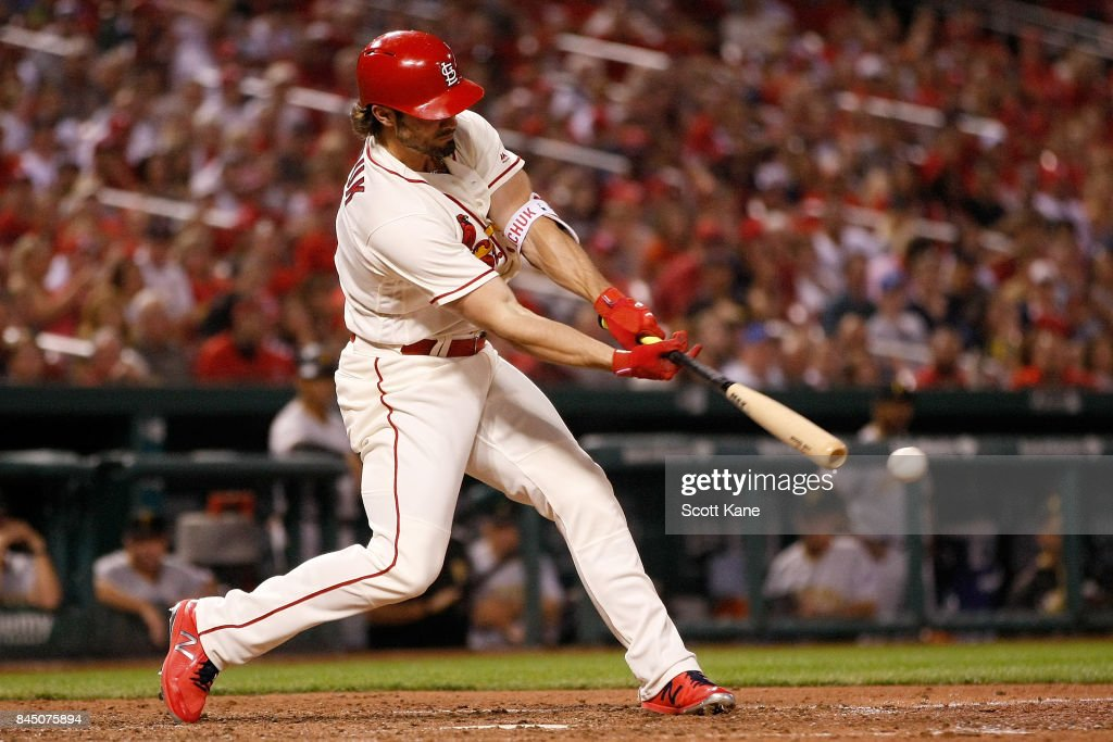 Randal Grichuk #15 of the St. Louis Cardinals drives in the go-ahead-run ash he grounds out during the eighth inning against the Pittsburgh Pirates at Busch Stadium on September 9, 2017 in St. Louis, Missouri.