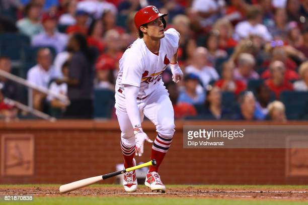 Randal Grichuk of the St Louis Cardinals hits a tworun home run against the Colorado Rockies in the fourth inning at Busch Stadium on July 24 2017 in...