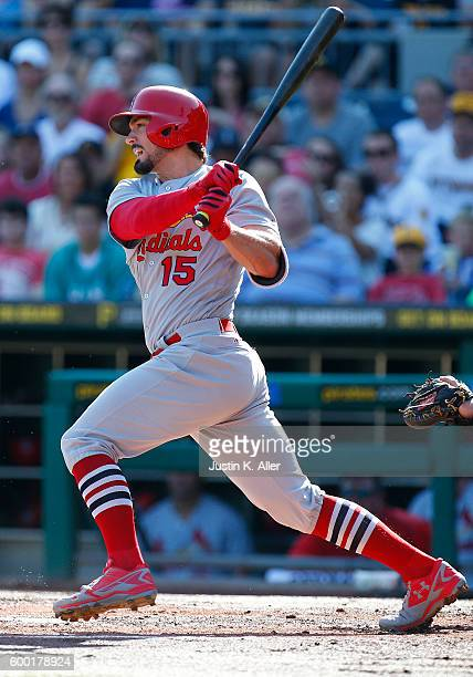 Randal Grichuk of the St Louis Cardinals in action during the game against the Pittsburgh Pirates at PNC Park on September 5 2016 in Pittsburgh...