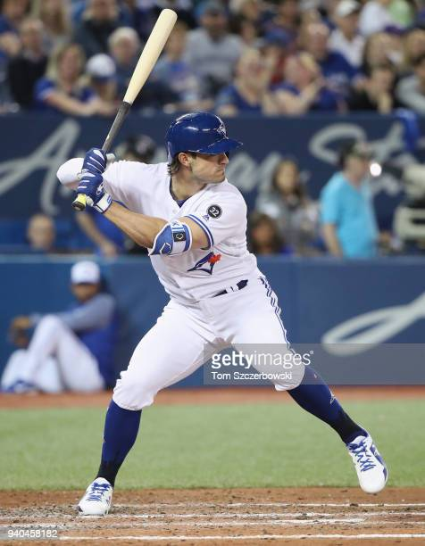 Randal Grichuk of the Toronto Blue Jays bats in the fourth inning on Opening Day during MLB game action against the New York Yankees at Rogers Centre...
