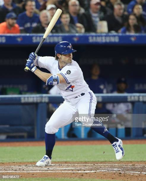 Randal Grichuk of the Toronto Blue Jays bats in the fourth inning during MLB game action against the New York Yankees at Rogers Centre on March 30...
