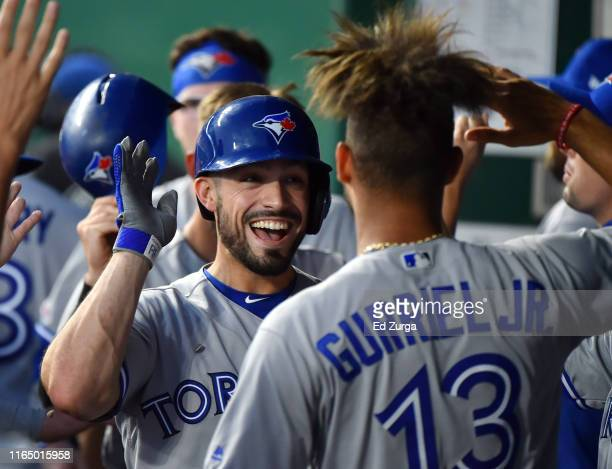 Randal Grichuk of the Toronto Blue Jays celebrates his tworun home run with Lourdes Gurriel Jr #13 in the sixth inning aKansas City Royals at...