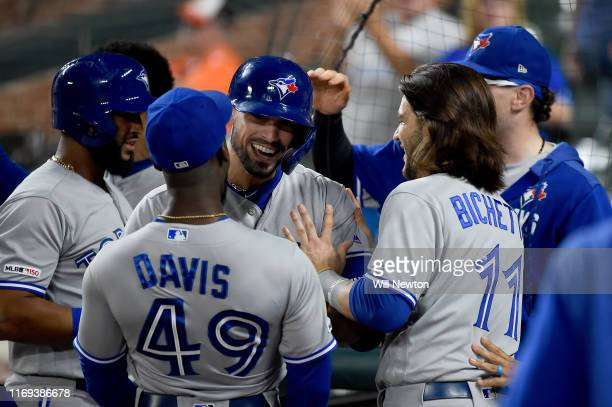 Randal Grichuk of the Toronto Blue Jays celebrates with teammates after hitting a four-run home run during the ninth inning against the Baltimore...