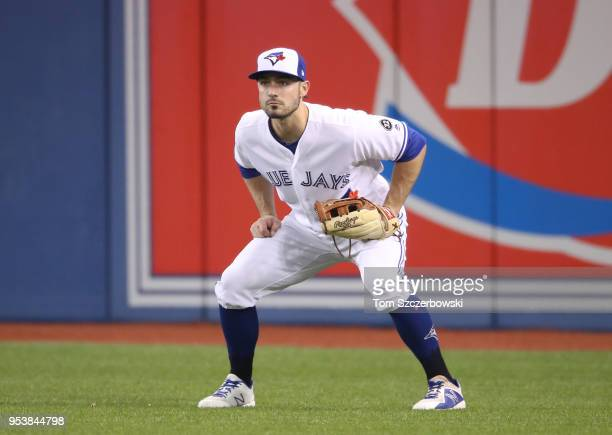 Randal Grichuk of the Toronto Blue Jays gets set to field his position in right field during MLB game action against the Boston Red Sox at Rogers...