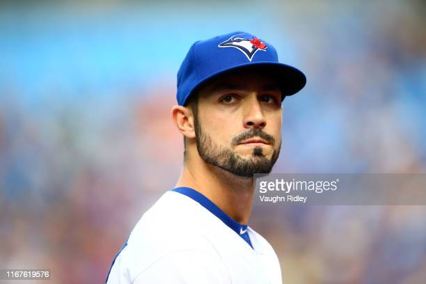 Randal Grichuk of the Toronto Blue Jays looks on following the first inning during a MLB game against the Tampa Bay Rays at Rogers Centre on July 26,...