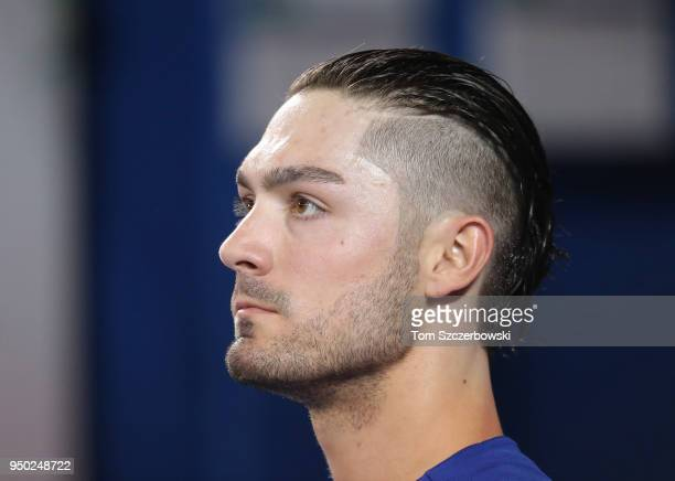 Randal Grichuk of the Toronto Blue Jays looks on from the dugout during MLB game action against the Kansas City Royals at Rogers Centre on April 18...
