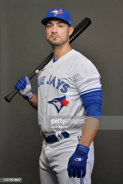 Randal Grichuk of the Toronto Blue Jays poses during Photo Day at TD Ballpark on February 21, 2020 in Dunedin, Florida.