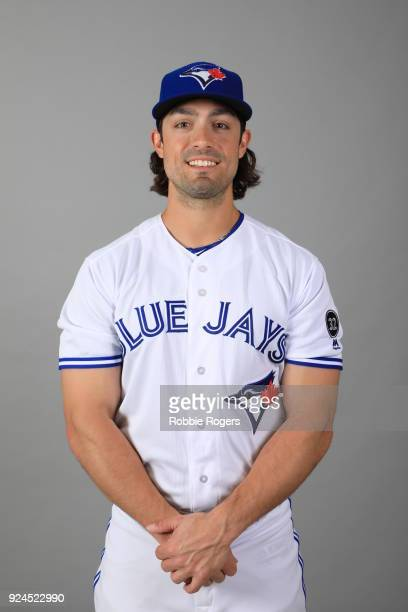 Randal Grichuk of the Toronto Blue Jays poses during Photo Day on Thursday February 22 2018 at Dunedin Stadium in Dunedin Florida