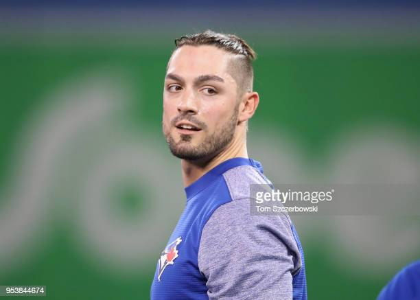 Randal Grichuk of the Toronto Blue Jays warms up during batting practice before the start of MLB game action against the Boston Red Sox at Rogers...