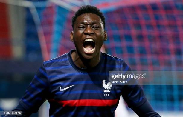 Randal Kolo Muani of France celebrates his goal during the UEFA Euro U21 qualifier match between France U21 and Switzerland U21 at Stade Michel...