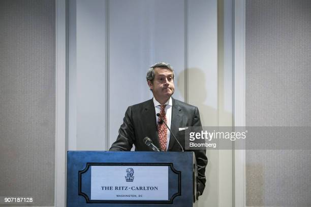 Randal Quarles vice chairman of the Federal Reserve pauses while speaking during the Banking Law Committee annual meeting in Washington DC US on...