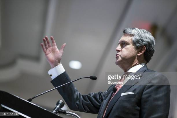 Randal Quarles vice chairman of the Federal Reserve speaks during the Banking Law Committee annual meeting in Washington DC US on Friday Jan 19 2018...