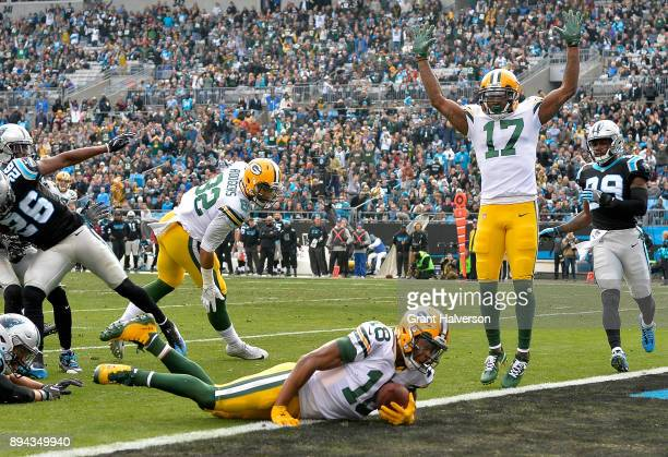 Randall Cobb of the Green Bay Packers scores a touchdown against the Carolina Panthers in the second quarter during their game at Bank of America...