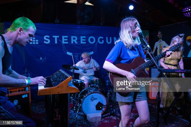 Randall Coon Garrett Koloski Catherine Elicson and Emily Shanahan of Empath perform at Cheer Up Charlies on March 13 2019 in Austin Texas