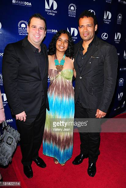 Randall Emmett Chittra Sukhu and Mario Van Peebles attend the World Premiere of Things Fall Apart at the 2011 Miami International Film Festival at...