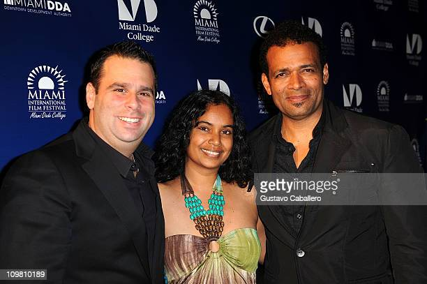 Randall EmmettChittra Sukhu and Mario Van Peebles attends the World Premiere of Things Fall Apart at 2011 Miami International Film Festival on March...