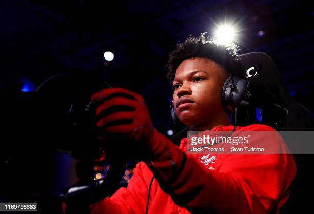 Randall Haywood of the United States in action during practice for the Gran Turismo World Tour at the PlayStation Theater on August 23 2019 in New...