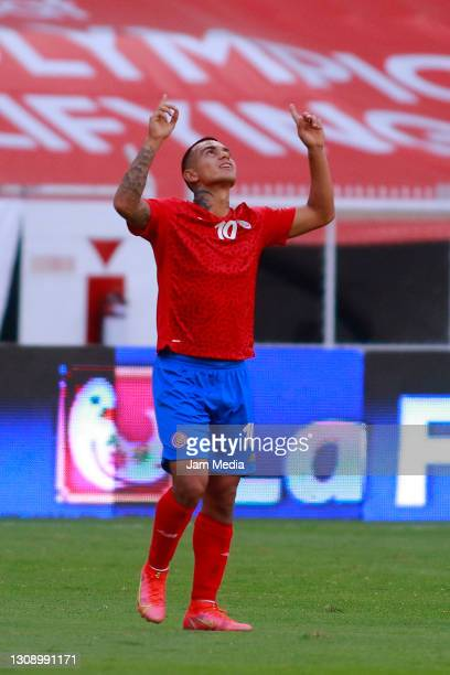 Randall Leal of Costa Rica celebrates after scoring his team's fourth goal during the match between Costa Rica and Dominican Republic as part of the...
