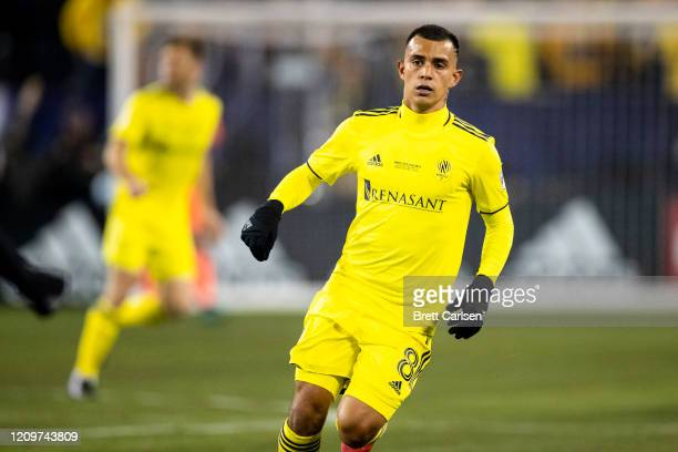 Randall Leal of the Nashville SC moves in position during the first half against the Atlanta United at Nissan Stadium on February 29 2020 in...