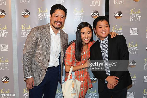 Randall Park Constance Wu and Hudson Yang arrive at the Emmy FYC Event for ABC's Fresh Off The Boat at The London Hotel on June 3 2016 in West...