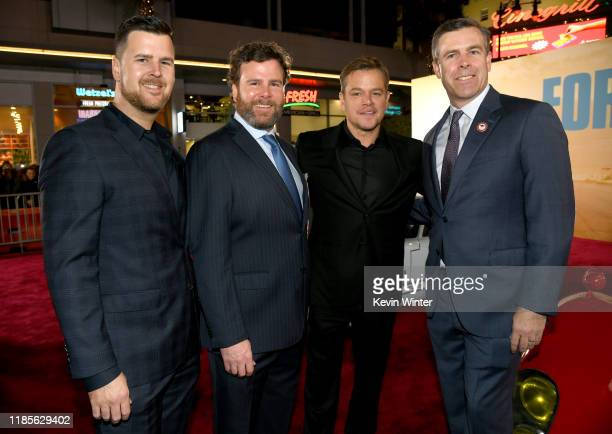 Randall Shelby Shawn Shelby Matt Damon and Aaron Shelby arrive at the premiere of Fox's Ford V Ferrari at the TCL Chinese Theatre on November 04 2019...