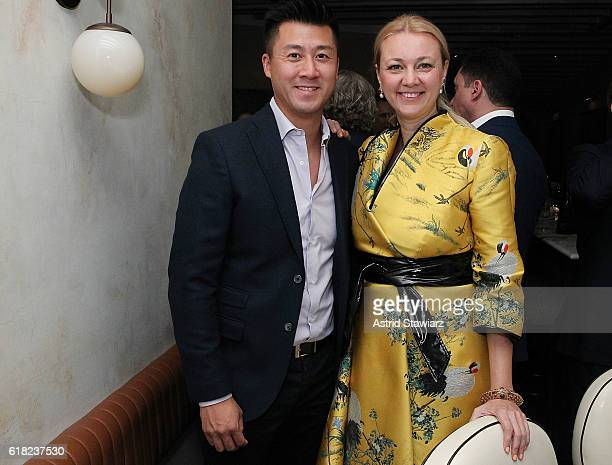 Randall Shu and Alisa Roever attends the Haute Living Celebrates The H1 Colorblock Collection Official Launch At Mamo NYC on October 25 2016 in New...