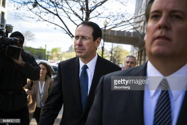 Randall Stephenson chairman and chief executive officer of ATT Inc exits federal court in Washington DC US on Thursday April 19 2018 ATT Inc...