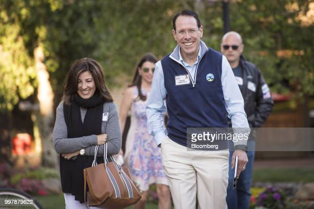 Randall Stephenson chairman and chief executive officer of ATT Inc right arrives for a morning session at the Allen Co Media and Technology...