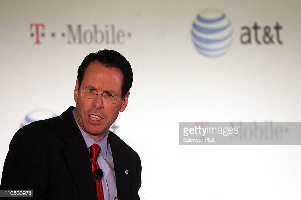 Randall Stephenson chief executive officer and president of ATT speaks at a news conference where it was announced that ATT Inc will be buying its...