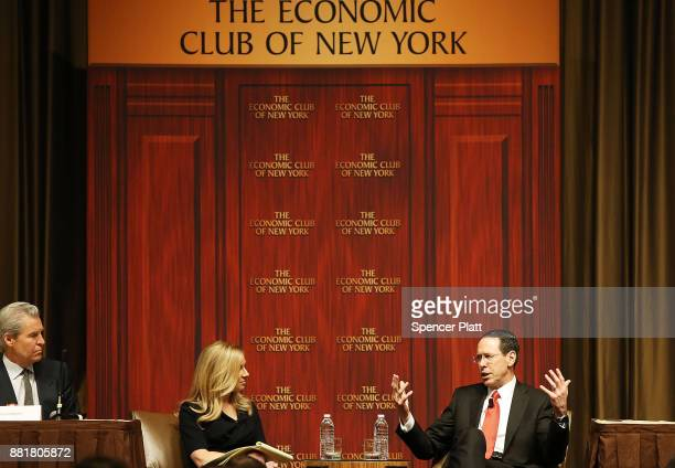 Randall Stephenson speaks with journalist Becky Quick at an Economic Club of New York luncheon on November 29 2017 in New York City Stephenson is...