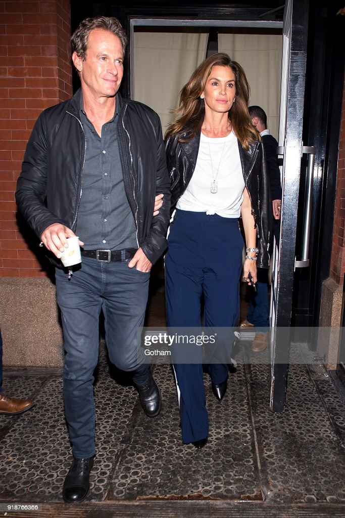 Rande Gerber (L) and Cindy Crawford are seen in SoHo on February 15, 2018 in New York City.