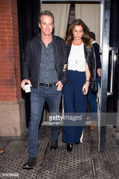 Rande Gerber and Cindy Crawford are seen in SoHo on February 15 2018 in New York City