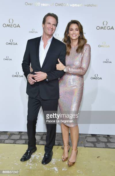 Rande Gerber and Cindy Crawford attend Her Time Omega Photocall as part of the Paris Fashion Week Womenswear Spring/Summer 2018 on September 29 2017...