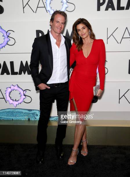 Rande Gerber and Cindy Crawford attend the grand opening of KAOS Dayclub & Nightclub at Palms Casino Resort on April 05, 2019 in Las Vegas, Nevada.