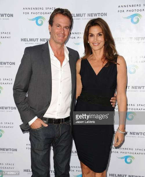Rande Gerber and Cindy Crawford attend the opening of 'Helmut Newton White Women Sleepless Nights Big Nudes' at Annenberg Space For Photography on...